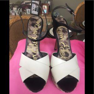 Sam Edelman White and Woven Stilettos